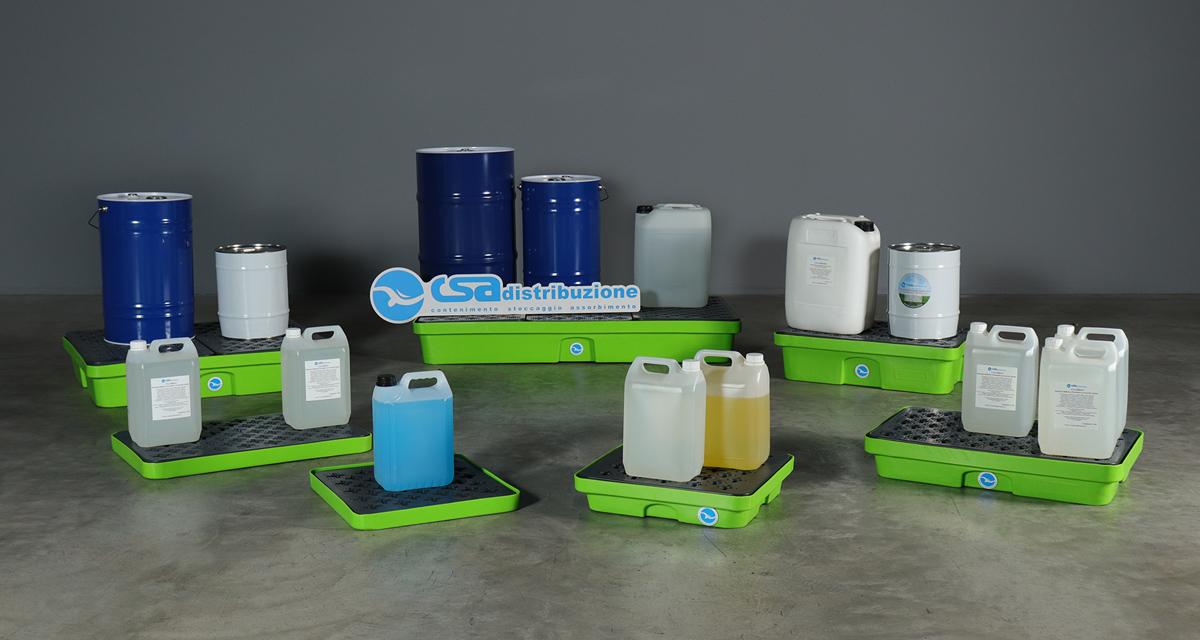 Vassoi di sicurezza per travasare liquidi pericolosi