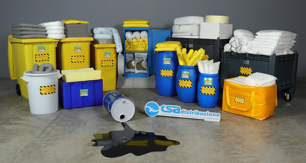 kit pronto intervento antinquinamento oleoassorbenti e idrorepellenti