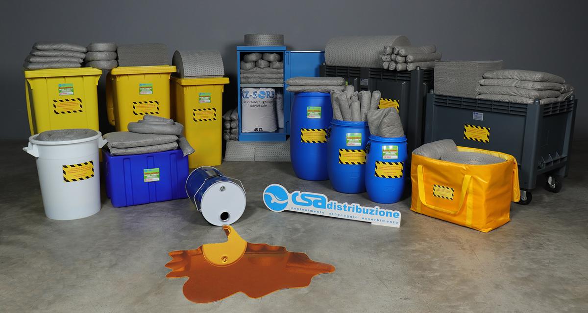 Kit pronto intervento antinquinamento per assorbire tutti i liquidi